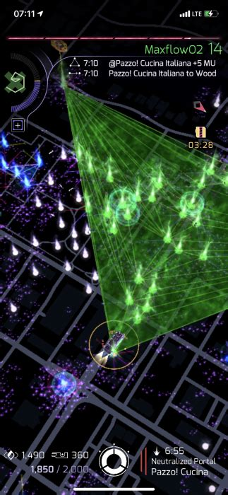 An exercise in maxfielding - ~244 fields from 89 portals