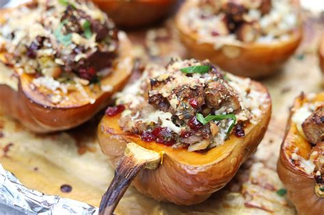Roasted Koginut Squash with Apple, Cranberry & Brussels